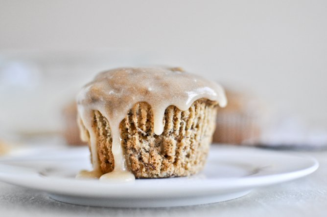 Whole Wheat Banana Spice Muffins with Brown Butter Glaze I howsweeteats.com