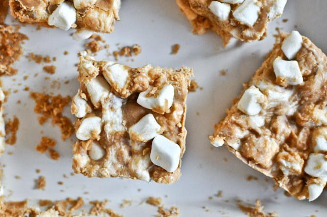 No-Bake Peanut Butter Marshmallow Squares from How Sweet It Is