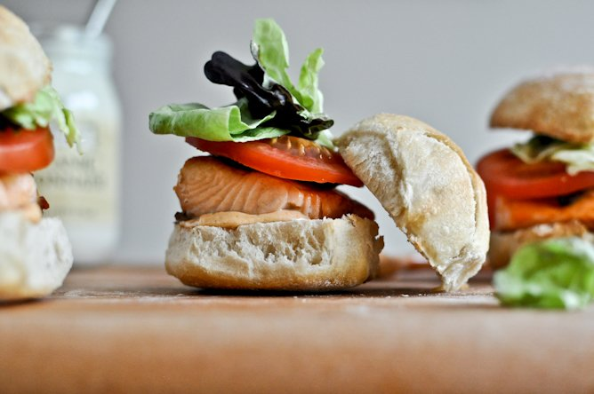 Crispy Salmon BLT Sliders with Chipotle Mayo