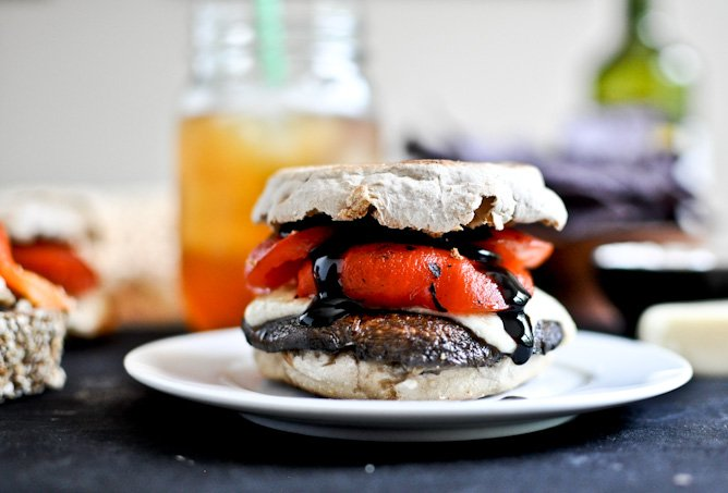 Asiago Portobello Burgers with Roasted Red Peppers + Balsamic Glaze I howsweeteats.com