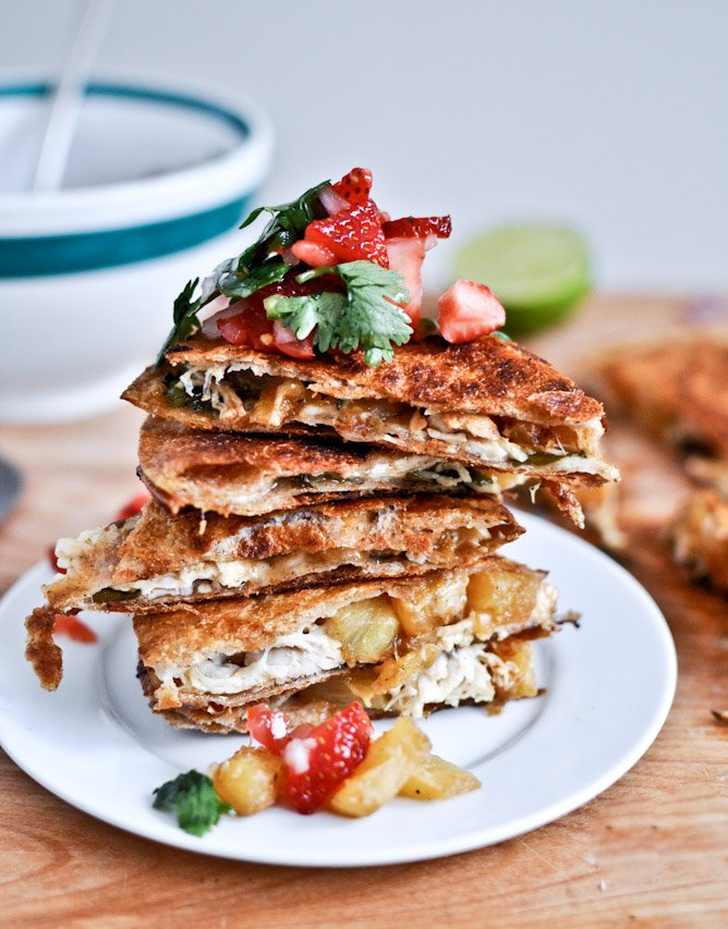 Caramelized Pineapple Quesadillas with Spicy Strawberry Salsa I howsweeteats.com