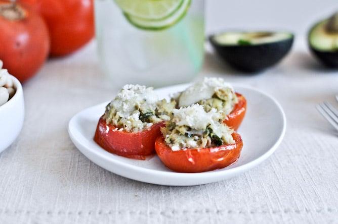 Mini Roasted Tomato Cups with Avocado, White Bean + Tuna Mash I howsweeteats.com