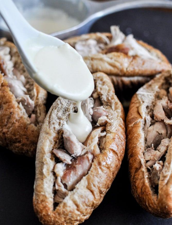 Homemade Chicken Cheesesteaks I howsweeteats.com