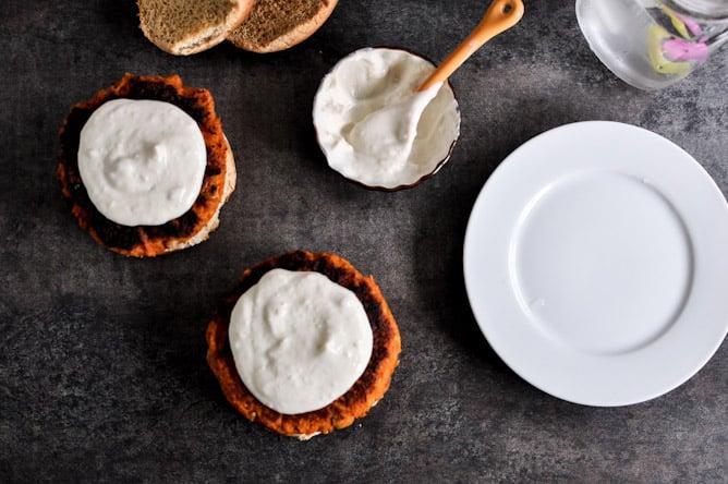 Smoky Sweet Potato Burgers with Roasted Garlic Cream and Avocado I howsweeteats.com