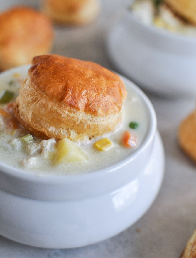 Chicken Pot Pie Soup with Puff Pastry BIscuits | How Sweet It Is