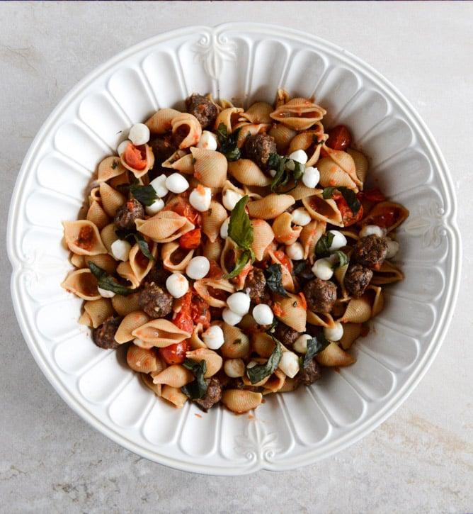 Caprese Shells with Mini Meatballs