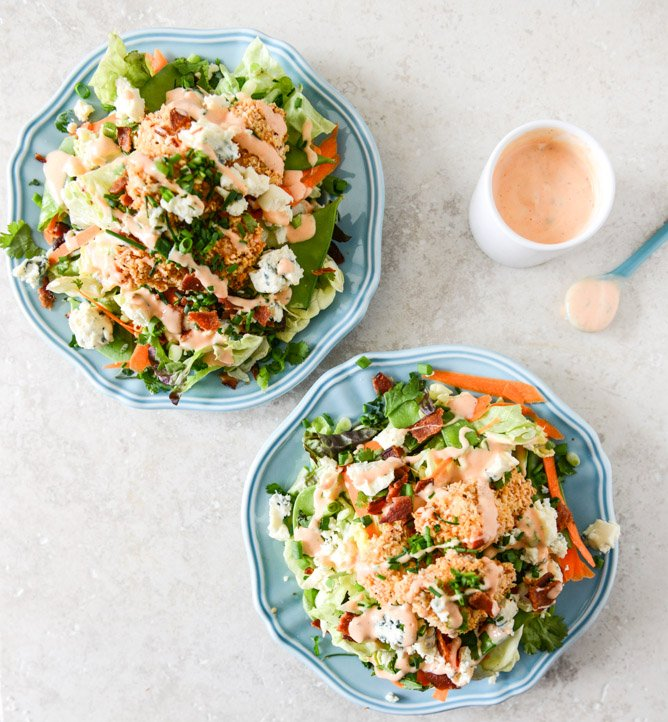 Crunchy Buffalo Chicken Salads with Bacon and Spicy Ranch I ...