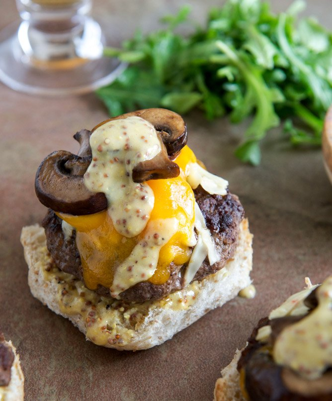 Burgers with Sautéed Mushrooms, Arugula and Dijon Aioli