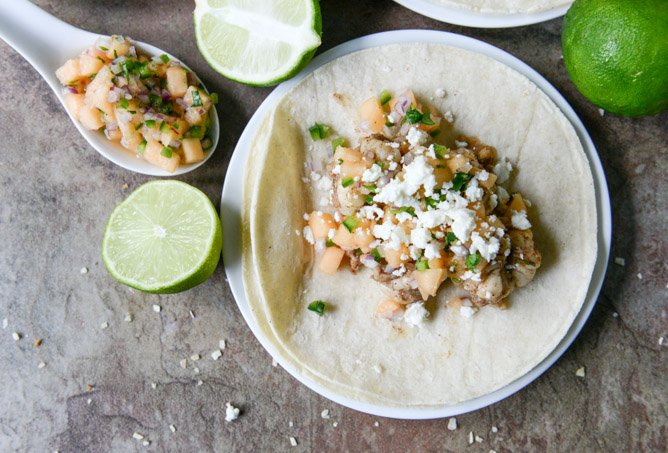 Jerk Shrimp Tacos with Spicy Melon Salsa