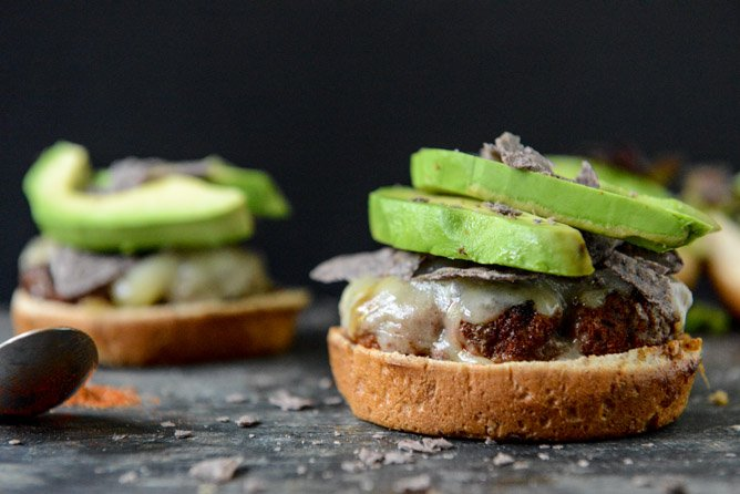 Taco-Rubbed Burgers with Avocado and Crushed Tortilla Chips
