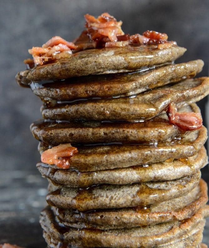 Mini Buckwheat Bacon Pancakes with Bourbon Syrup I howsweeteats.com