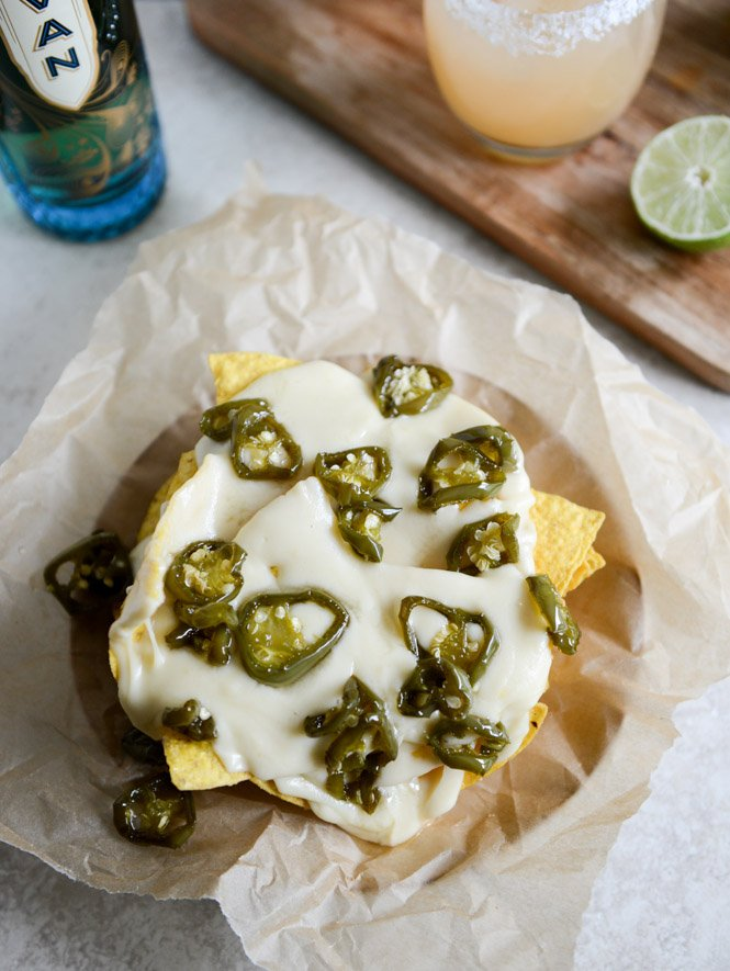 Easy Movie Nachos with Fontina Queso + Candied Jalapeños