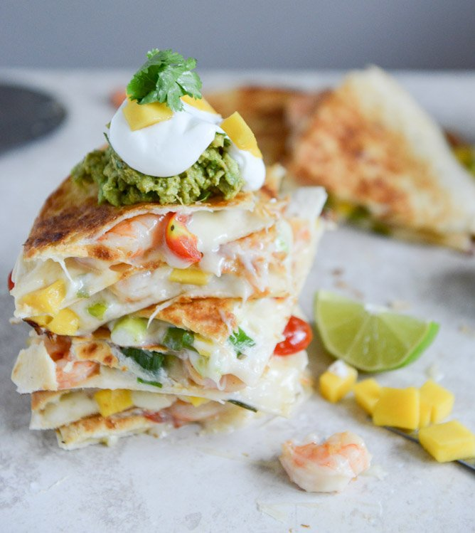 Chipotle Beer Shrimp Quesadillas with Spicy Guac