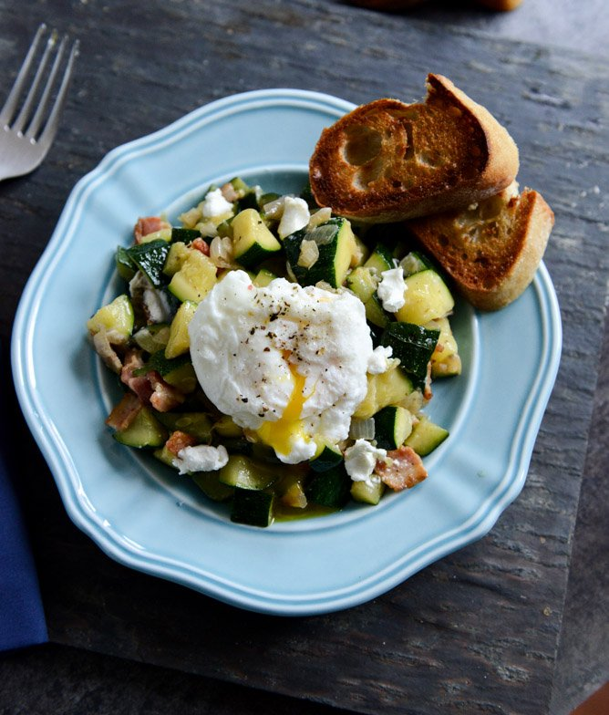 Zucchini Summer Skillet with Poached Eggs and Garlic Butter Baguettes