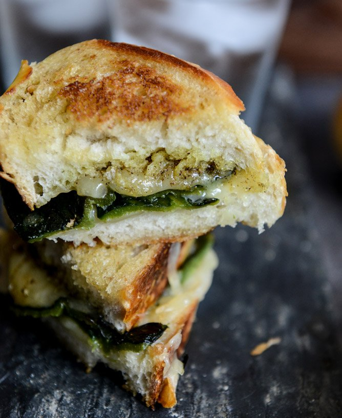 Sourdough Grilled Cheese with Roasted Poblanos, Smoked Cheddar and Curried Brown Butter I howsweeteats.com