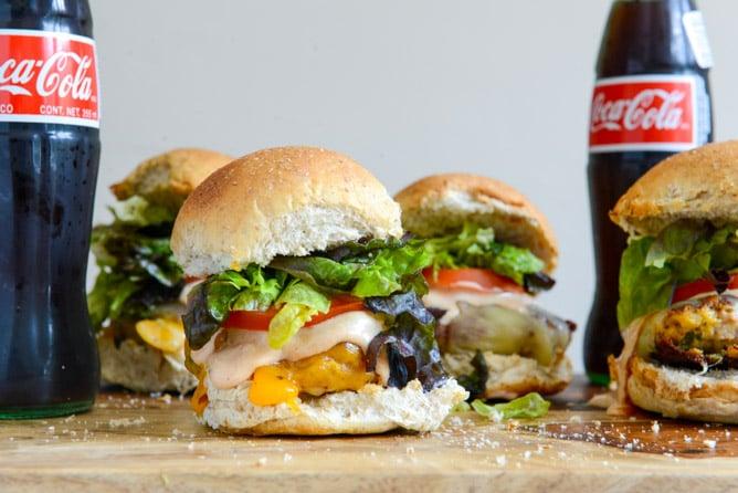 Roasted Jalapeño Cheddar Turkey Burgers with Smoky BBQ Aioli