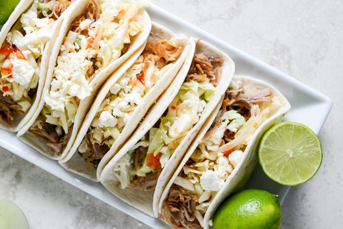 Pulled Pork Tacos with Sweet Chili Slaw I howsweeteats.com
