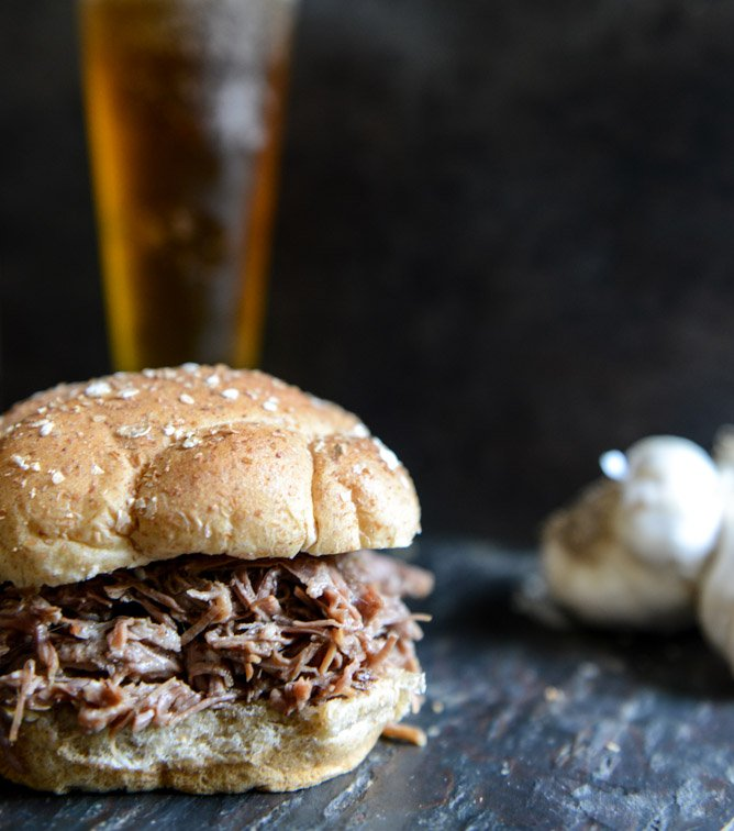 Crockpot Brown Sugar + Roasted Garlic Pulled Pot Roast Sandwiches I howsweeteats.com