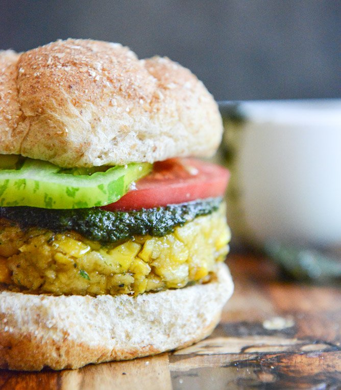 End Of Summer Bean Burgers with Grilled Corn, Pesto + Heirloom Tomatoes