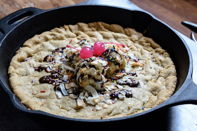 Peanut Butter Skillet Cookie I howsweeteats.com