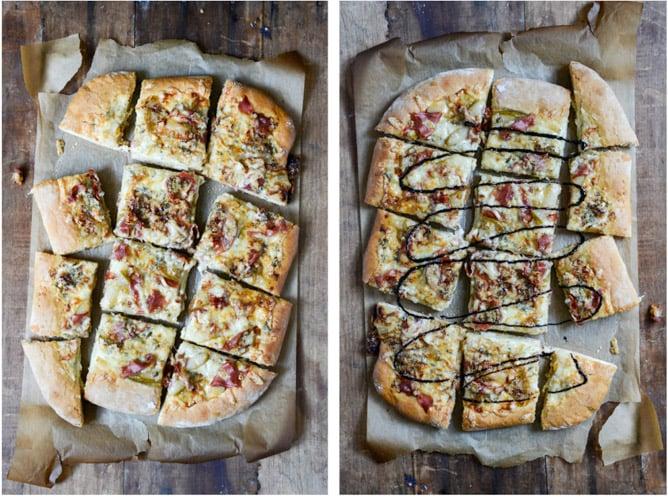 Caramelized Pear, Crispy Prosciutto + Blue Cheese Pizza I howsweeteats.com