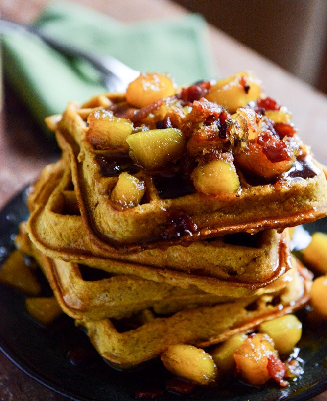 Pumpkin Spice Waffles with Butternut Bacon Syrup.