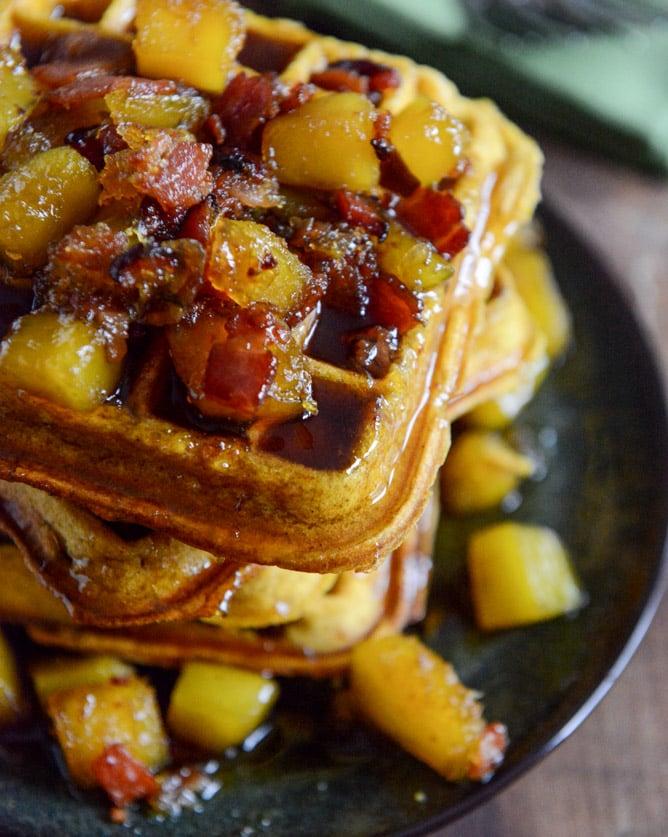 Pumpkin Waffles with Butternut Bacon Syrup I howsweeteats.com