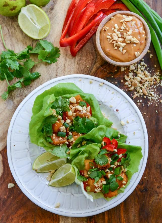 Chili Caramelized Thai Butternut Squash Lettuce Wraps