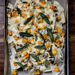 Spiced Butternut Squash, Garlic Butter Mushroom and Fontina Nachos with Crispy Sage I howsweeteats.com-3