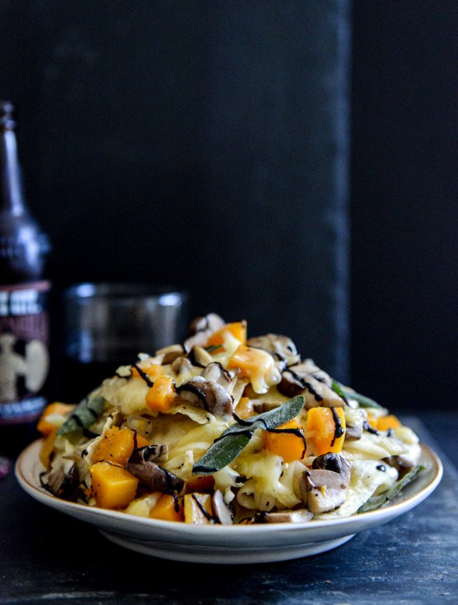Spiced Butternut Squash, Garlic Butter Mushroom and Fontina Nachos with Crispy Sage I howsweeteats.com