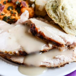 applewood smoked turkey breast with cider bourbon gravy I howsweeteats.com-4