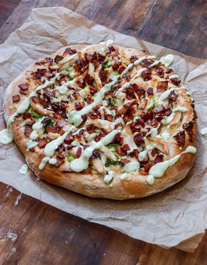 Thanksgiving Leftovers: Turkey, Bacon + Avocado Ranch Pizza