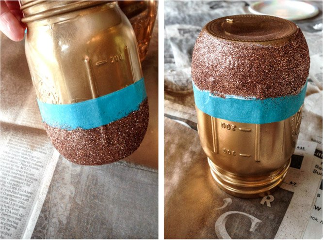 DIY rose gold metallic mason jars I howsweeteats.com