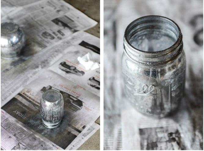 DIY vintage mirror metallic mason jars I howsweeteats.com