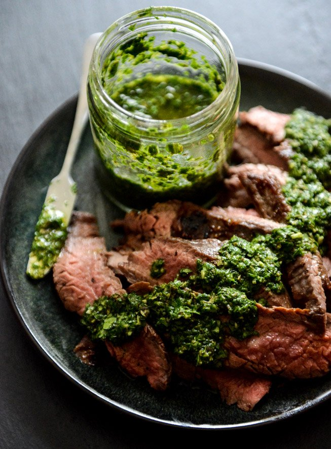 Garlic Brown Sugar Flank Steak with Chimichurri I howsweeteats.com