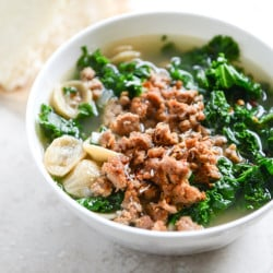spicy sausage, kale and whole wheat orrechetti soup I howsweeteats.com-4
