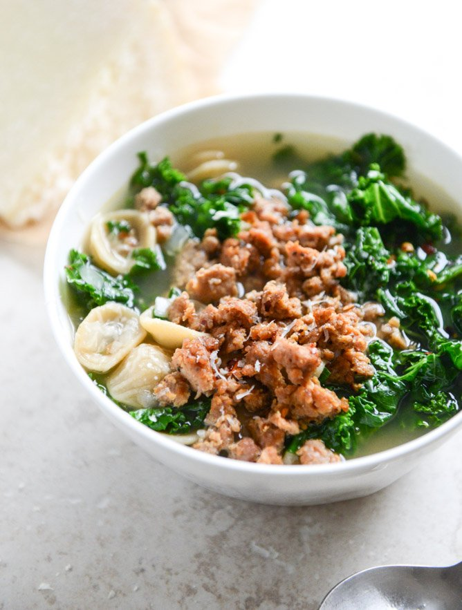 Spicy Sausage, Kale and Whole Wheat Orecchiette Soup