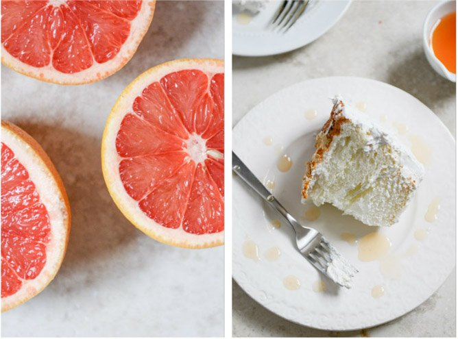 Angel Food Layer Cake with Whipped Coconut Cream and Grapefruit Syrup I howsweeteats.com