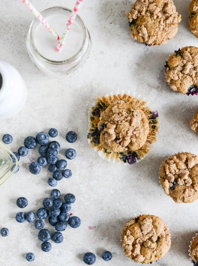 whole wheat blueberry yogurt crumb muffins I howsweeteats.com