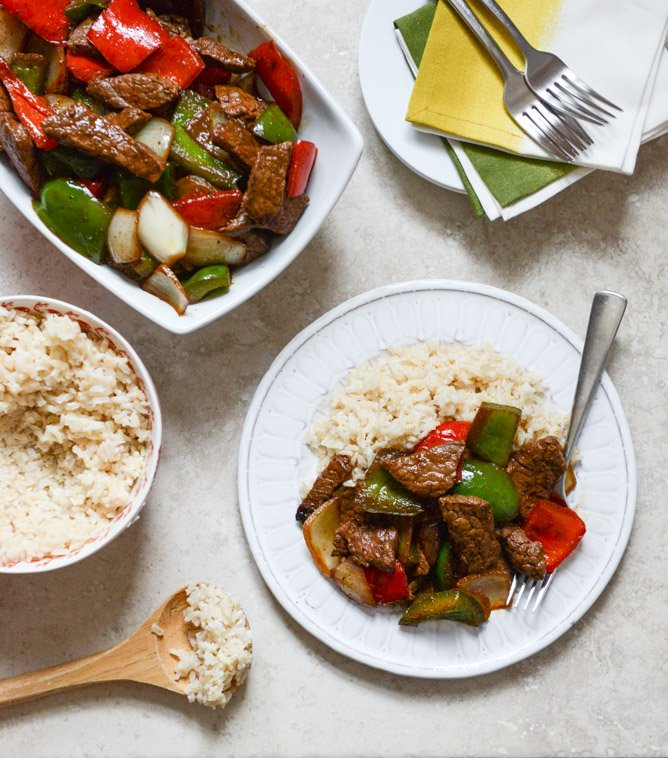Chili Garlic Beef Stir Fry with Coconut Rice I howsweeteats.com