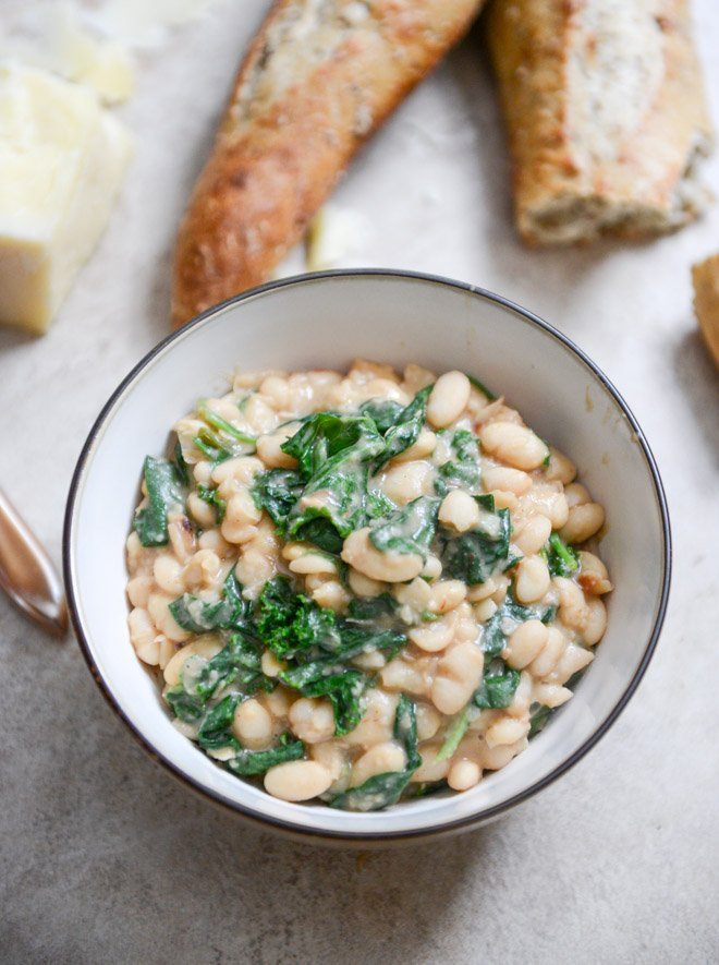 Spicy Greens and Creamy Parmesan Bean Stew I howsweeteats.com