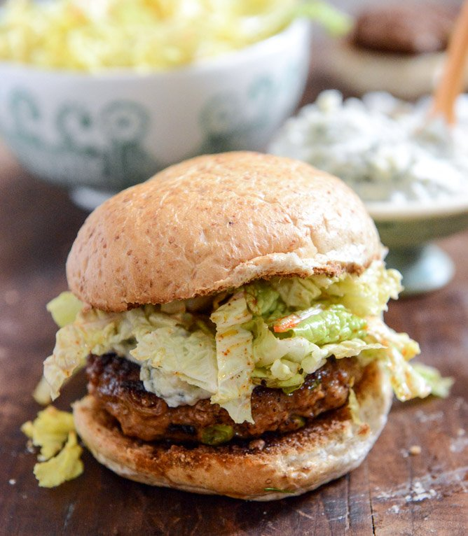 Turkey Burgers with Creamy Gorgonzola and Chili Garlic Slaw