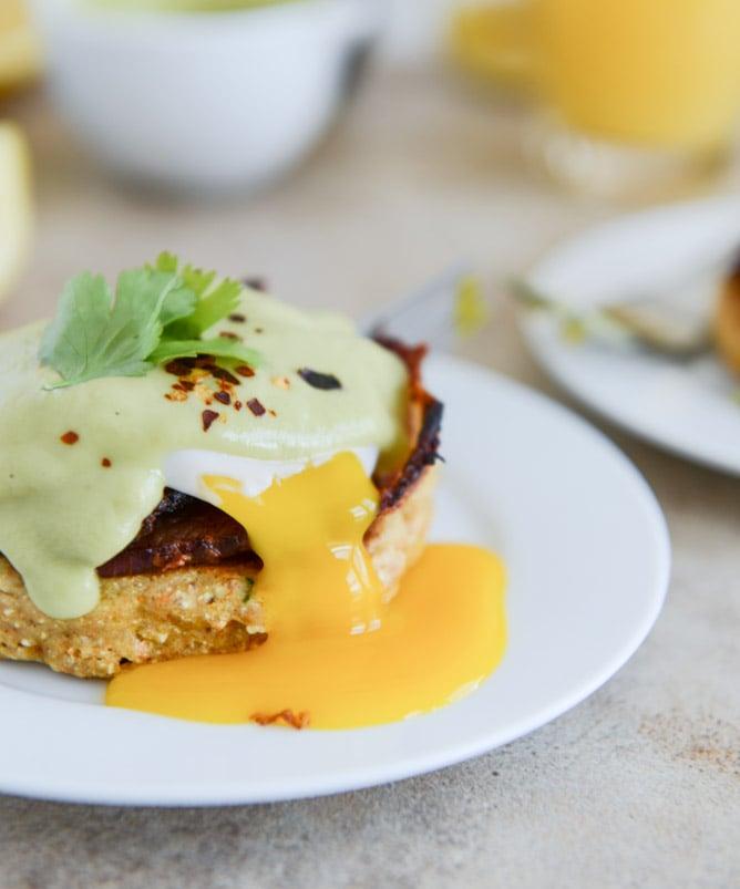 Sweet Corn Cake Eggs Benedict with Avocado Hollandaise I howsweeteats.com
