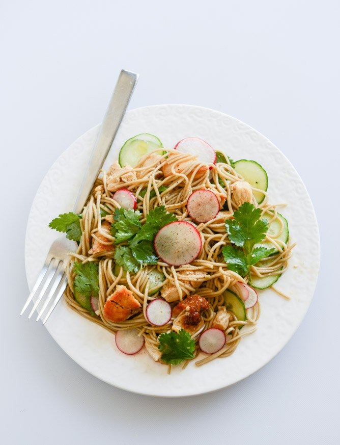 Soba Noodle Salad with Caramelized Chicken and Chili Oil I howsweeteats.com