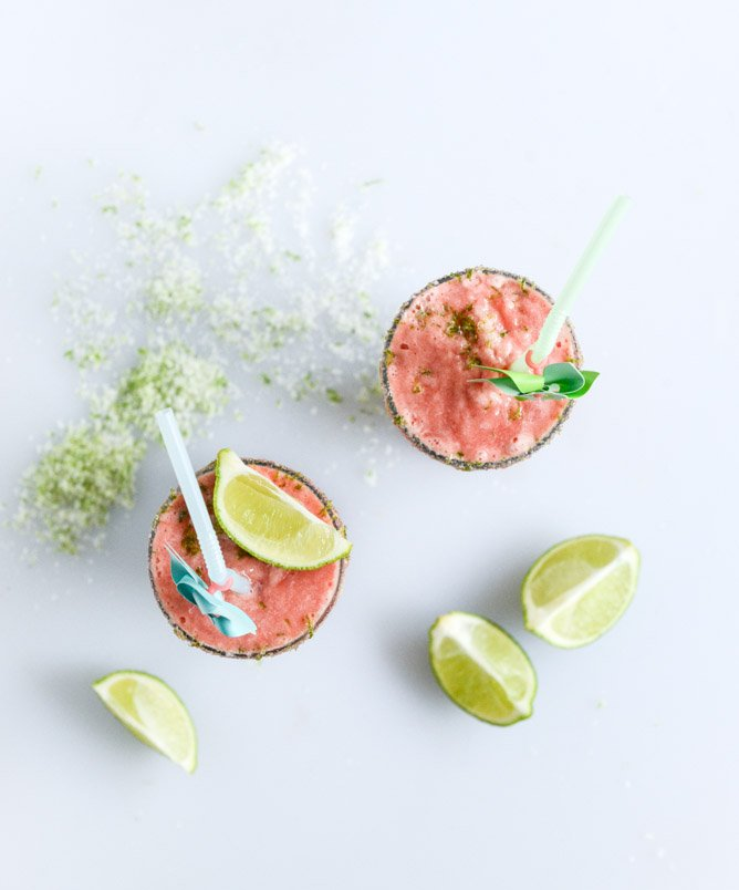 layered watermelon coconut shakes with salty lime sugar I howsweeteats.com