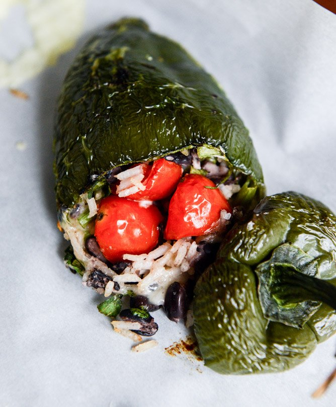 cheese smothered stuffed poblanos I howsweeteats.com