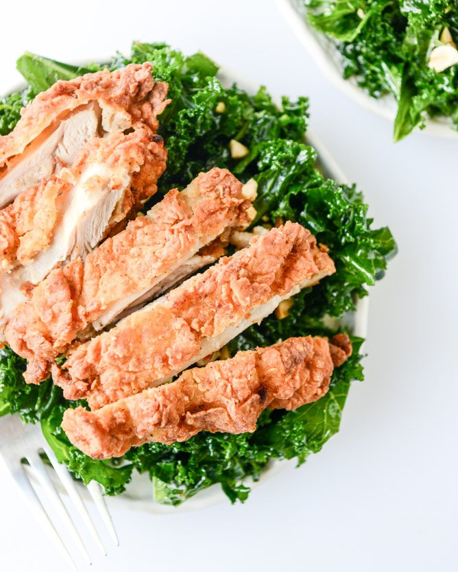 chili garlic kale salad... with fried chicken I howsweeteats.com
