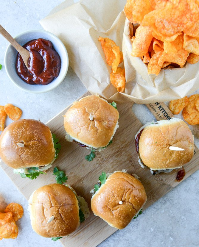 Black Bean Butternut Sliders with Chipotle Ketchup