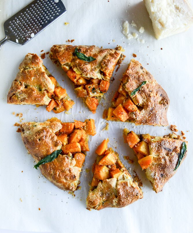 parmesan crusted butternut galette with fried sage I howsweeteats.com
