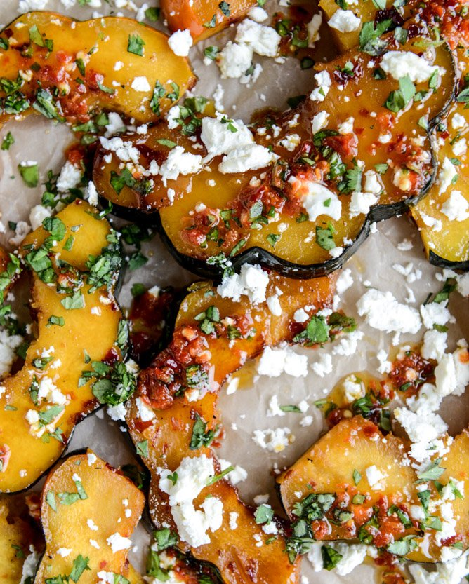 spicy roasted squash with feta + herbs I howsweeteats.com